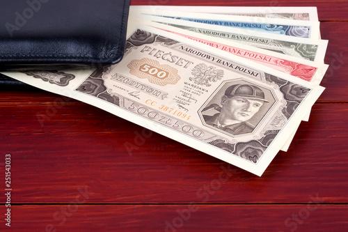 Fotografía  Old Polish money - Zloty in the black wallet