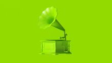 Lime Green Vintage Gramophone 3d Illustration 3d Render