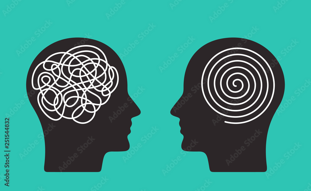 Fototapeta Two heads of a person with the opposite mindset. concept of chaos and order in thoughts. flat vector illustration isolated
