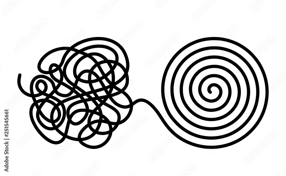 Fototapeta Chaos and disorder turns into a formed even tangle with one line. Chaos and order theory. flat vector illustration isolated