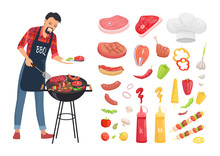 BBQ Serving Man And Isolated I...