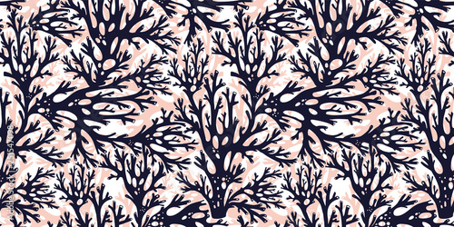 Fototapety, obrazy: Tree branches or coral algae doodle linear seamless pattern.