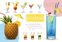 Realistic Summer Cocktails Col...