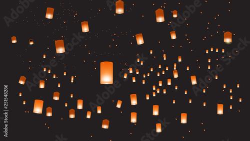 Vector illustration of chinese lanterns in the dark sky Wallpaper Mural