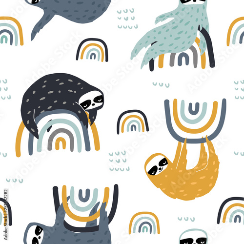 Seamless childish pattern with funny sloths on rainbows Canvas Print