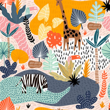 Seamless Pattern With Giraffe, Zebra,tucan, And Tropical Landscape. Creative Jungle Childish Texture. Great For Fabric, Textile Vector Illustration