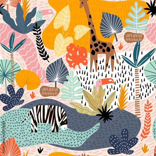 Fototapeta Seamless pattern with giraffe, zebra,tucan, and tropical landscape. Creative jungle childish texture. Great for fabric, textile Vector Illustration obraz