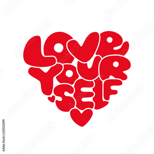 Fotografía  Cute Love Yourself hand drawn lettering trendy affirmation phrase in 80s style