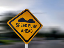 Speed Bump Sign - Yellow Road ...