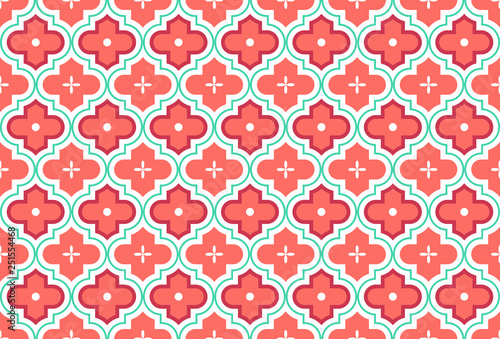 Moroccan Quatrefoil Seamless Pattern Mosaic Ogee Vector Canvas Print