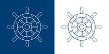 Icono Plano Lineal Timón De Barco En Azul Y Blanco