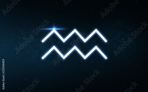 astrology and horoscope - aquarius sign of zodiac over dark night sky and stars Wallpaper Mural