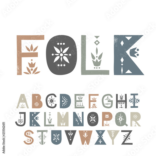 Vector display uppercase alphabet decorated with geometric folk patterns Fototapet