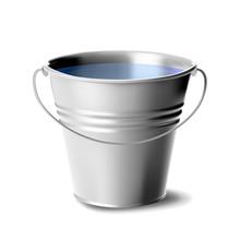 Metal Bucket Full Of Water Vec...