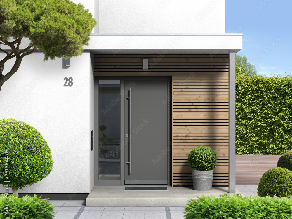 Fototapeta moderner hauseingang von außen mit haustür und seitenteil - 3d rendering nach eigenem entwurf