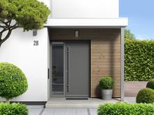 Moderner Hauseingang Von Außen Mit Haustür Und Seitenteil - 3d Rendering Nach Eigenem Entwurf