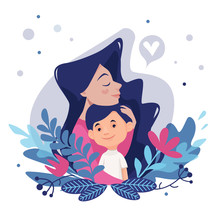 Daughter Gives A Flower To Mom. Vector Illustration Of A Flat Design.