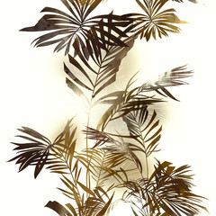Fototapetaimprints palm leaves mix repeat seamless pattern. digital hand drawn picture with watercolour texture. mixed media