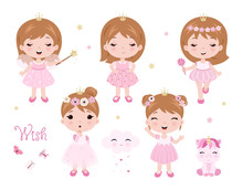 Vector Cute Little Baby Girl D...