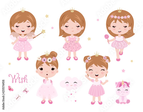 Photo Vector cute little baby girl dressed as princess