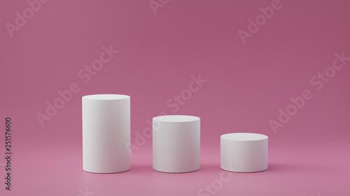 Fotografía  Empty steps cylinder on pastel pink background. 3D rendering.