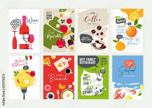 Fototapeta Set of restaurant menu, brochure, flyer design templates. Vector illustrations for food and drink marketing material, natural products presentation, cover design, wine list and cocktail menu templates obraz