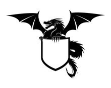 Dragon With Shield Sign On Whi...