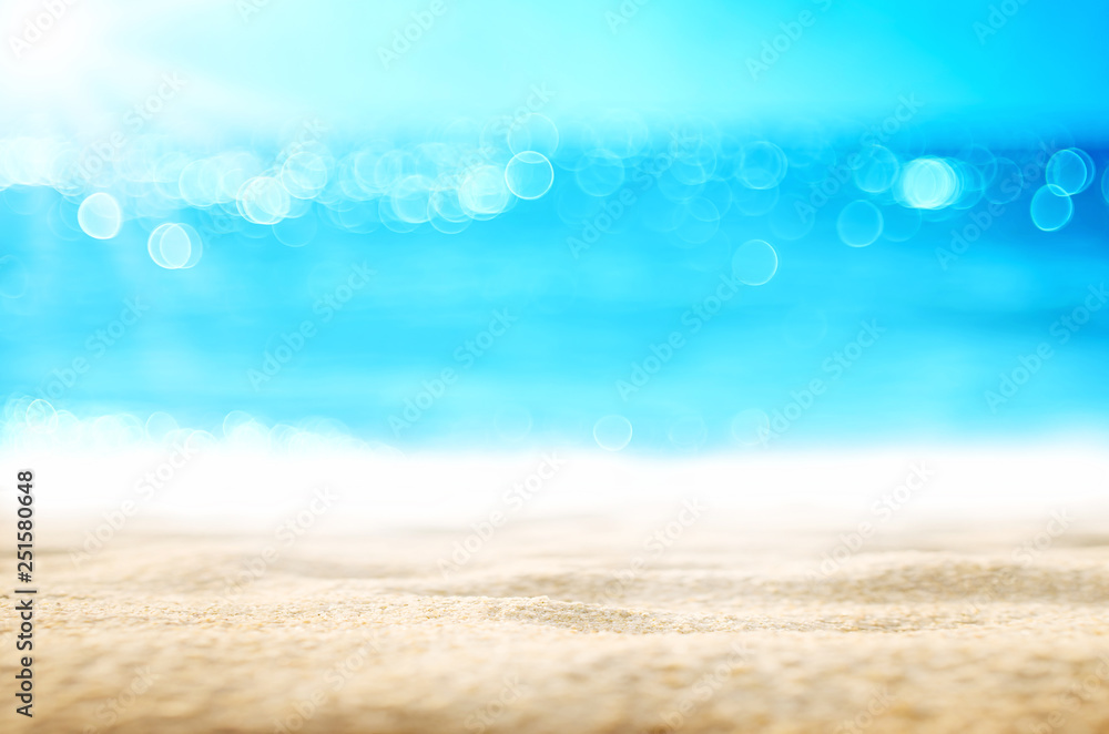 Fototapety, obrazy: Blur tropical beach with bokeh sun light wave abstract background.
