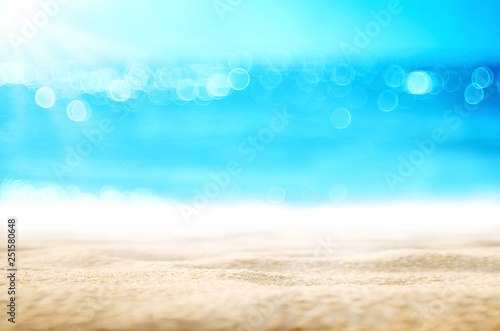 Blur tropical beach with bokeh sun light wave abstract background Canvas Print
