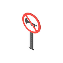 No Honking Isometric Icon. Element Of Color Isometric Road Sign Icon. Premium Quality Graphic Design Icon. Signs And Symbols Collection Icon