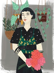 Panel Szklany Do sypialni Beautiful stylish short haired brunette woman with artificial limb and flower bouquet. Flower pots on grey background. Hand drawn colorful illustration