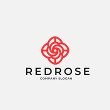 Outline Red Rose In Linear Style Logo Design