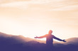 canvas print picture - Copy space of man rise hand up on top of mountain and sunset sky abstract background.