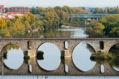 ZAMORA, SPAIN - NOVEMBER 1, 2016: View of one of the bridges that cross the Douro River, which runs through the city.