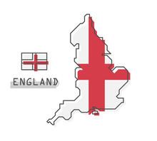 England Map And Flag . Modern Simple Line Cartoon Design . Vector