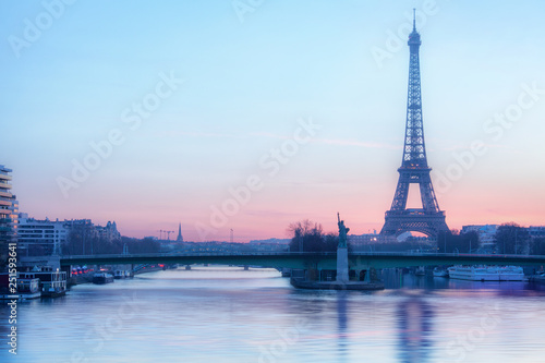 Morning view of the Eiffel tower in Paris, France Wallpaper Mural