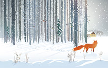 Winter Forest Landscape With A Hungry Fox Looking Out Of The Woods Towards A Man's Dwelling. Raster Illustration.