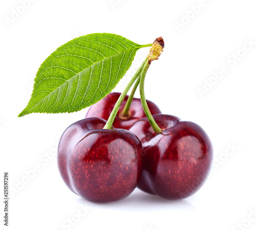 Fototapeta Sweet cherry with leaf