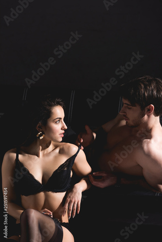 Pleasant Handsome Man Lying On Couch And Undressing Woman In Lingerie Uwap Interior Chair Design Uwaporg