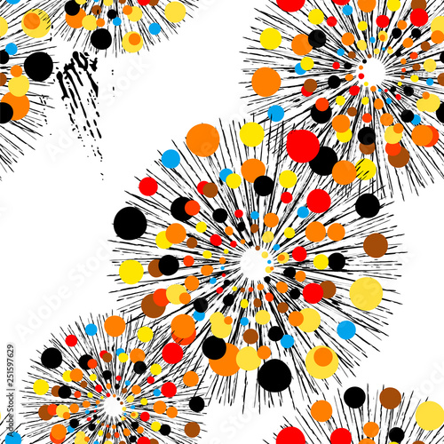 seamless pattern background, with circles, dots, strokes and splashes