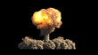 canvas print picture - Nuclear explosion on black background
