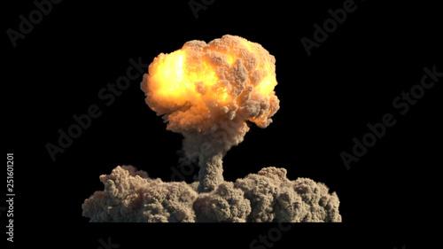 Valokuvatapetti Nuclear explosion on black background