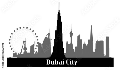 Foto Black and white vector illustration, Dubai city building, United Arab Emirates