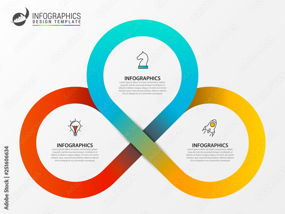 Fototapety, obrazy: Infographic design template. Creative concept with 3 steps