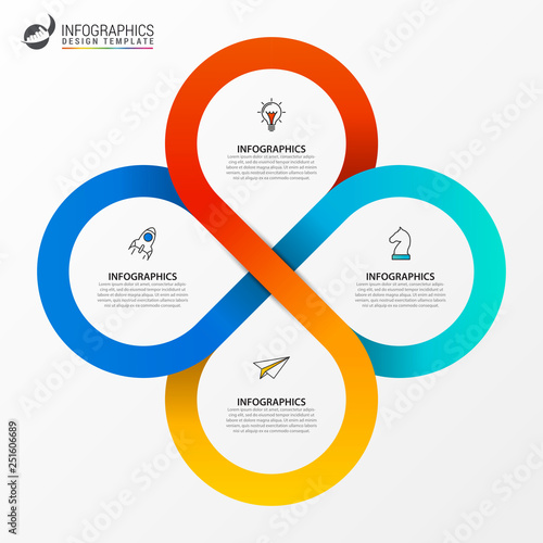 Cuadros en Lienzo  Infographic design template. Creative concept with 4 steps