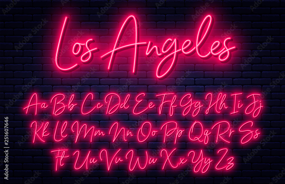 Fototapeta Glowing neon script alphabet. Neon font with uppercase and lowercase letters. Handwritten english alphabet