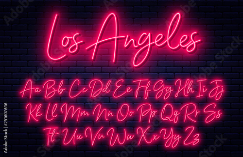 Glowing neon script alphabet. Neon font with uppercase and lowercase letters. Handwritten english alphabet