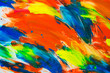 Beautiful abstract brushstrokes with colorful gouache paint on white paper for backgrounds