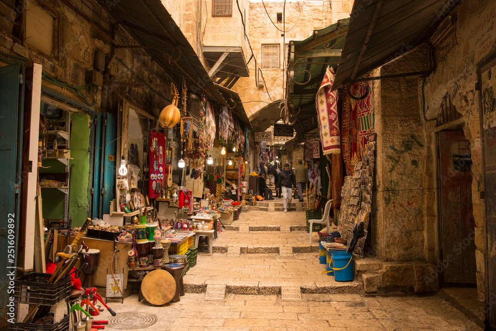 Fototapety, obrazy: The Arabic suq in the historic old city of Jerusalem, Israel., Middle East