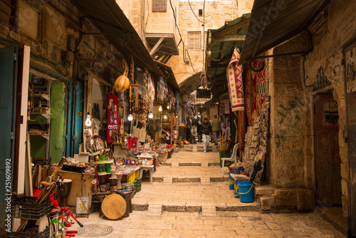 The Arabic suq in the historic old city of Jerusalem, Israel Canvas-taulu